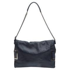 Jimmy Choo Navy Studded Leather Shoulder Bag
