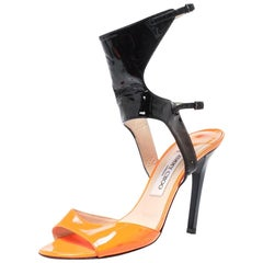 Jimmy Choo Neon Orange Patent Leather Loop Ankle Cuff Open Toe Sandals Size 38