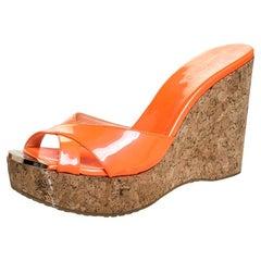 Jimmy Choo Neon Orange Patent Leather Prima Cork Wedge Slides Size 40.5
