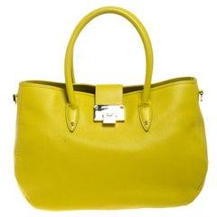 Jimmy Choo Neon Yellow Leather Rania Tote