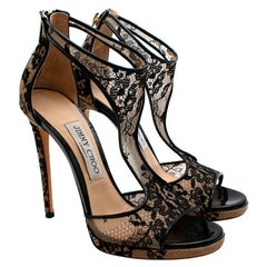 Jimmy Choo Nude/Black Lace Cut-Out Sandals - Size 37