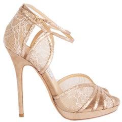 JIMMY CHOO nude glitter Fayme Lace Heels Shoes 36