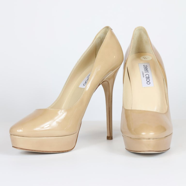 Jimmy Choo Nude Stilettos In Excellent Condition For Sale In Bridgehampton, NY