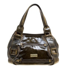 Jimmy Choo Olive Green Patent Leather Mahala Tote