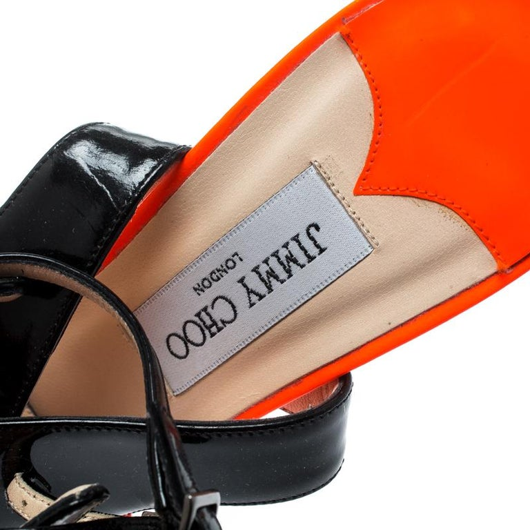 Jimmy Choo Orange Black Patent Leather Loop Ankle Cuff Open Toe Sandals Size 38 For Sale 1