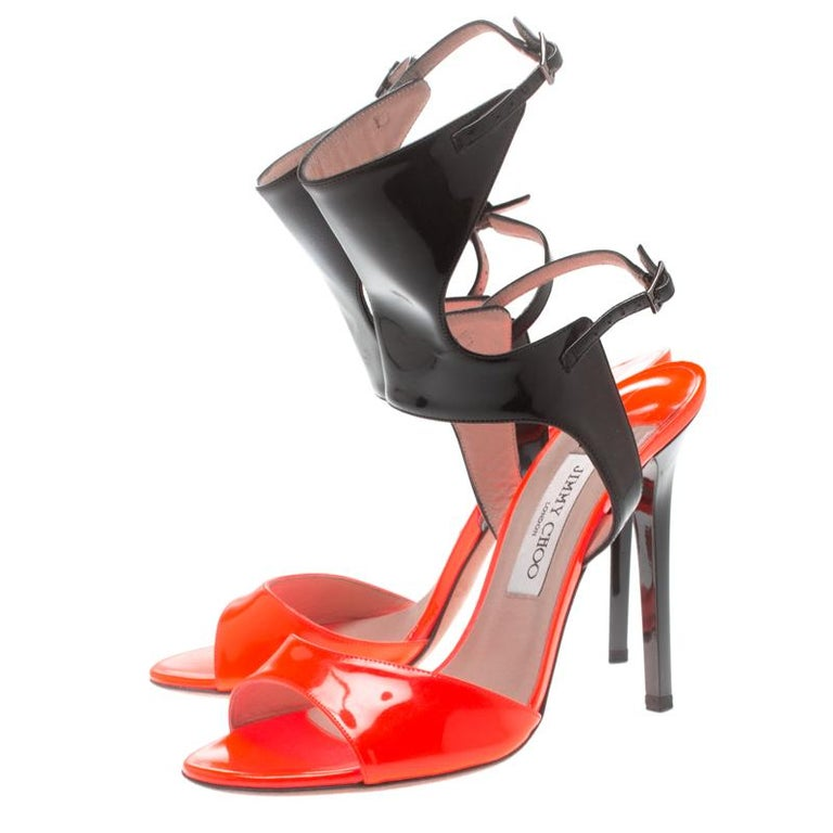Jimmy Choo Orange Black Patent Leather Loop Ankle Cuff Open Toe Sandals Size 38 For Sale 2