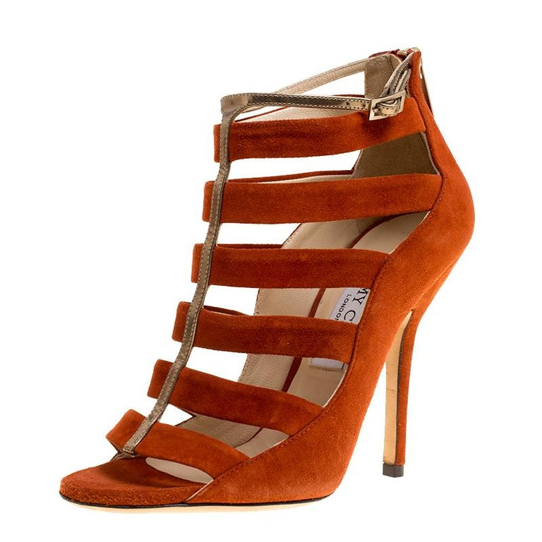 ea18b8c4e Jimmy Choo Orange/Bronze Suede and Leather Fathom Strappy Cage Sandal  Booties Si For Sale