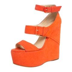 Jimmy Choo Orange Nubuck Letitia Multi Strap Platform Sandals Size 37.5