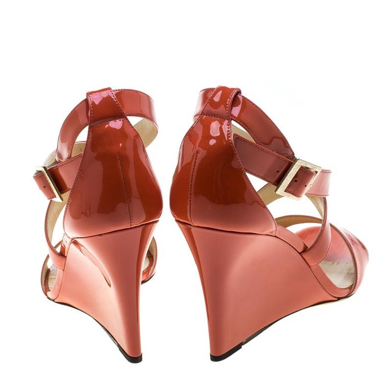 7f731f8141 Jimmy Choo Orange Patent Leather Fearne Criss Cross Strap Wedge Sandals  Size 41 In New Condition
