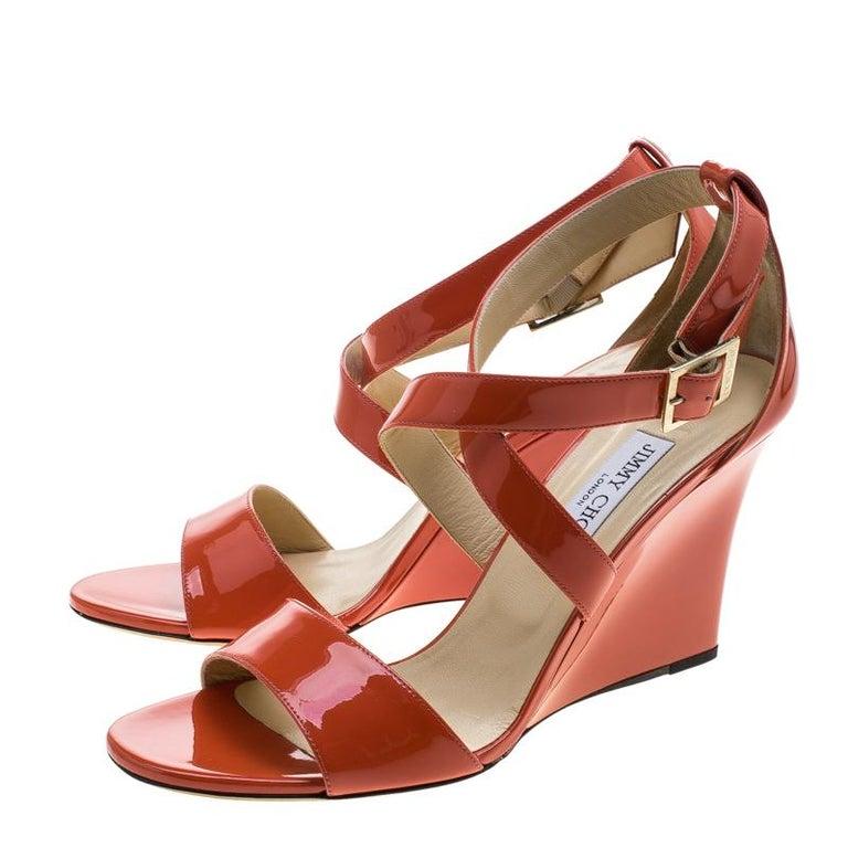 7e8d2ea09db Jimmy Choo Orange Patent Leather Fearne Criss Cross Strap Wedge Sandals  Size 41 For Sale 2