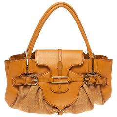 Jimmy Choo Orange Raffia and Leather Tulita Shoulder Bag