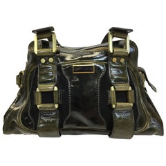 Jimmy Choo Patent Leather Green and Black Should Bag