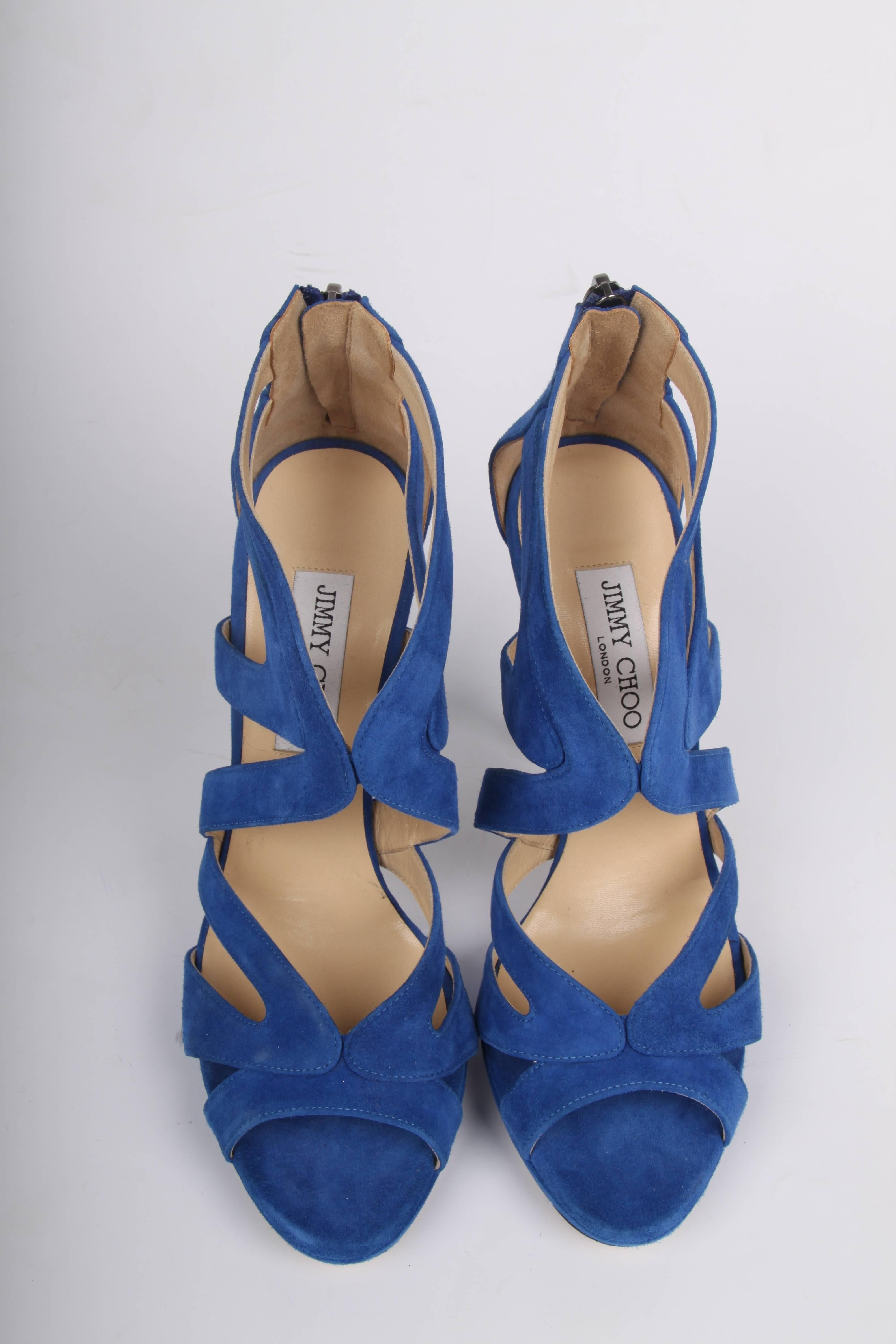 616a6f5cd7bc Jimmy Choo Peep Toe Suede Pumps - blue For Sale at 1stdibs