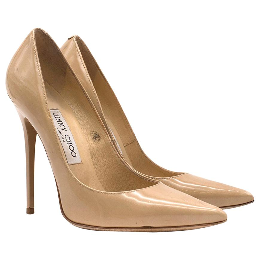 Jimmy Choo Pigalle Nude Patent Leather Pumps - Current Season SIZE 37.5