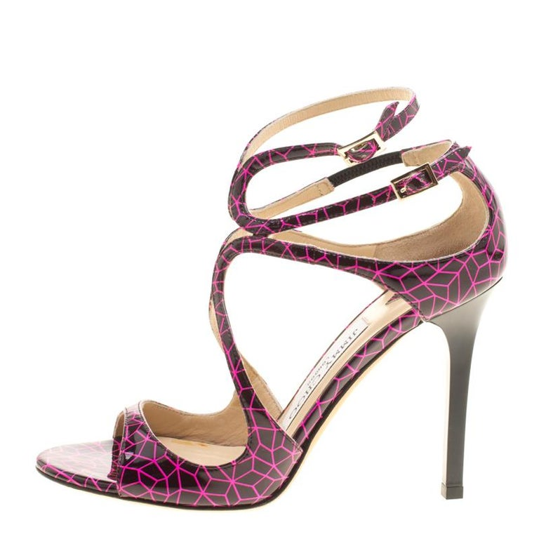 f1586fdb46c Women s Jimmy Choo Pink and Black Print Patent Lance Strappy Sandals Size  35.5 For Sale