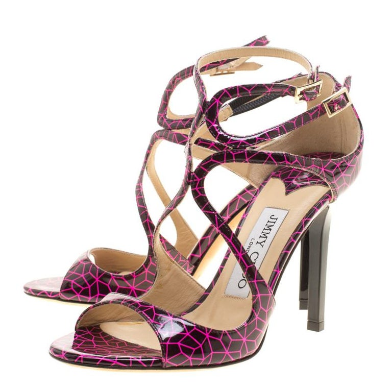 32bfc2d1c57 Jimmy Choo Pink and Black Print Patent Lance Strappy Sandals Size 35.5 For  Sale 1