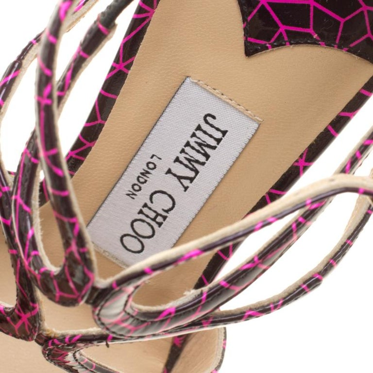 Jimmy Choo Pink and Black Print Patent Lance Strappy Sandals Size 35.5 For Sale 2