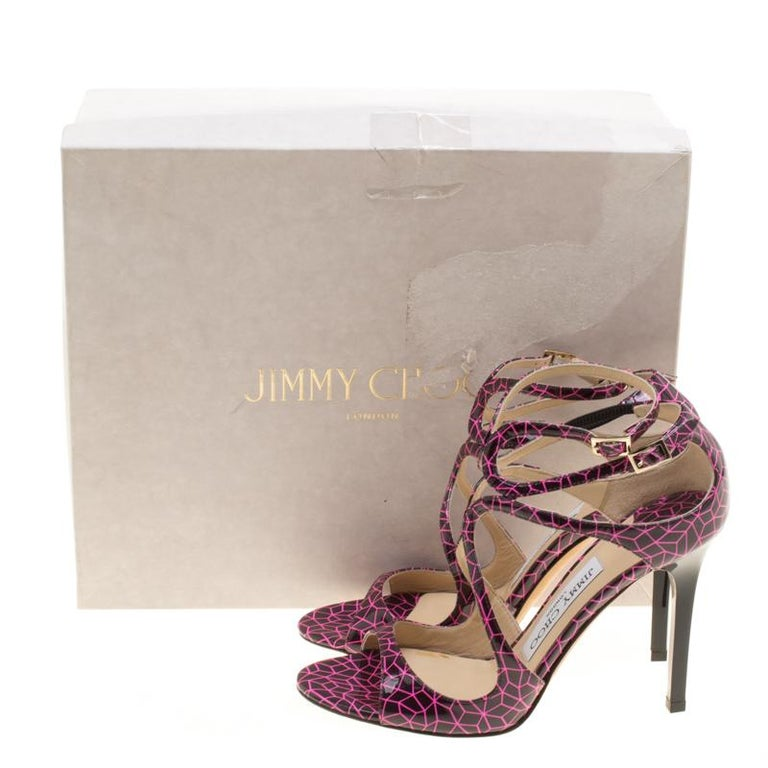 Jimmy Choo Pink and Black Print Patent Lance Strappy Sandals Size 35.5 For Sale 3