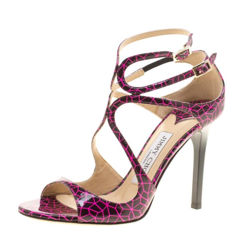 Jimmy Choo Pink and Black Print Patent Lance Strappy Sandals Size 35.5 For Sale