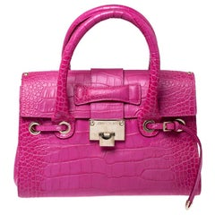 Jimmy Choo Pink Croc Embossed Leather Small Rosalie Satchel