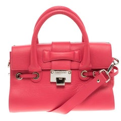 Jimmy Choo Pink Leather Small Rosalie Top Handle Bag