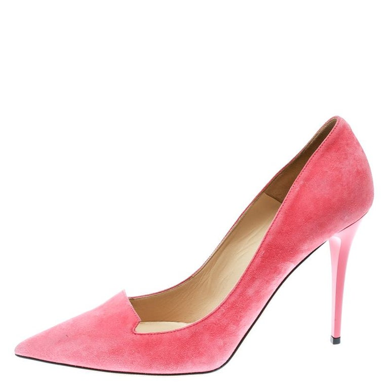 ddbe77cbc1c Jimmy Choo Pink Suede Avril Pointed Toe Pumps Size 41 For Sale at ...
