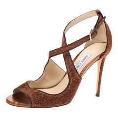 Jimmy Choo Pop Orange Leather Trimmed Lamè Fabric Emily Cross Strap Sandals 40