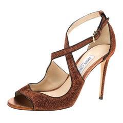 Jimmy Choo Pop Orange Trimmed Lamè Fabric Emily Cross Strap Sandals Size 40