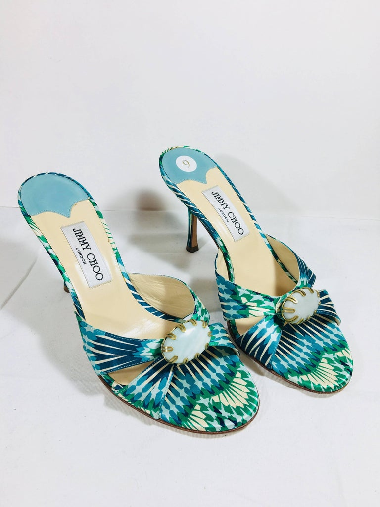 Jimmy Choo Satin Green Multi Colored Printed Open Toe Mule Pumps with Turquoise Stone at Toe.