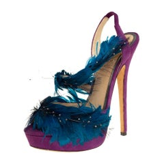 Jimmy Choo Purple/Blue Feather And Suede Marlene Sandals Size 38.5