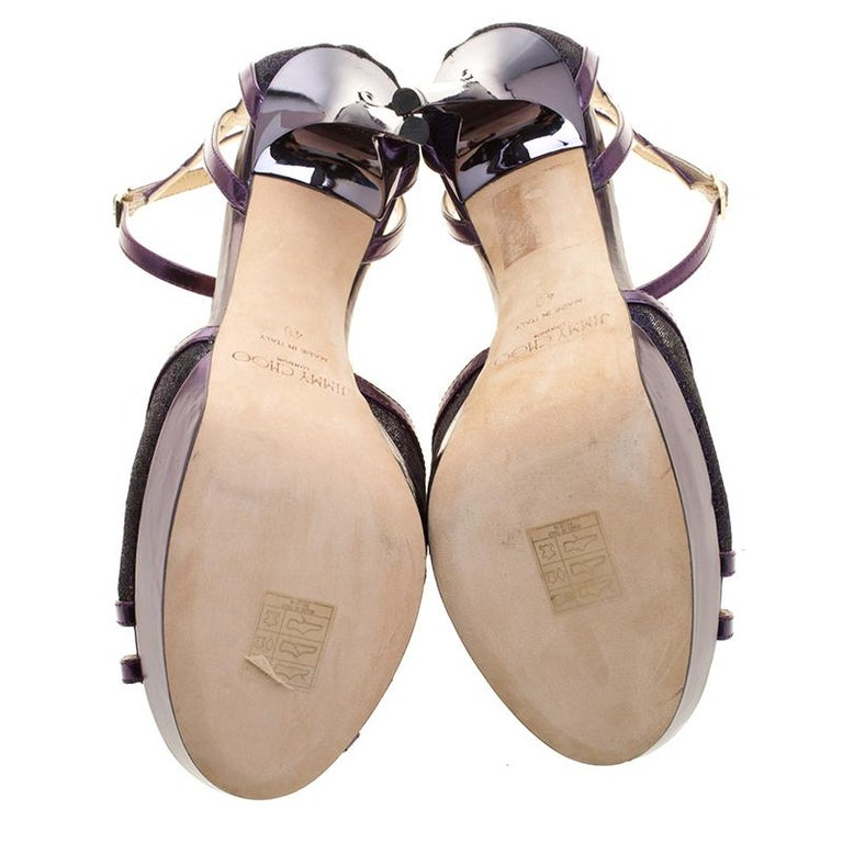 Jimmy Choo Purple Leather and Lace Laurita Platform Ankle Strap Sandals Size 40 In New Condition For Sale In Dubai, Al Qouz 2