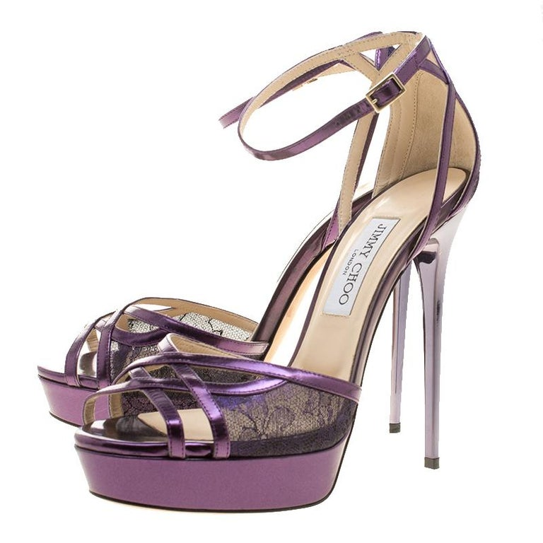 91caffdd1fb0 Women s Jimmy Choo Purple Leather and Lace Laurita Platform Ankle Strap  Sandals Size 40 For Sale