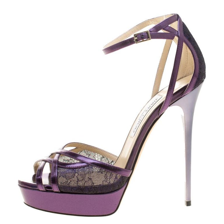 Women's Jimmy Choo Purple Leather and Lace Laurita Platform Ankle Strap Sandals Size 40 For Sale
