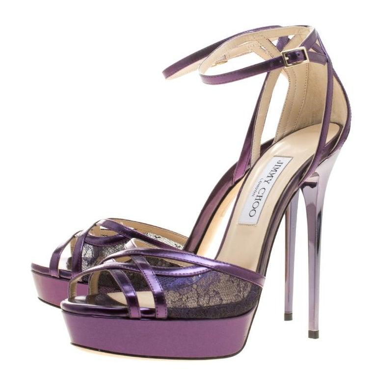 Jimmy Choo Purple Leather and Lace Laurita Platform Ankle Strap Sandals Size 40 For Sale 1