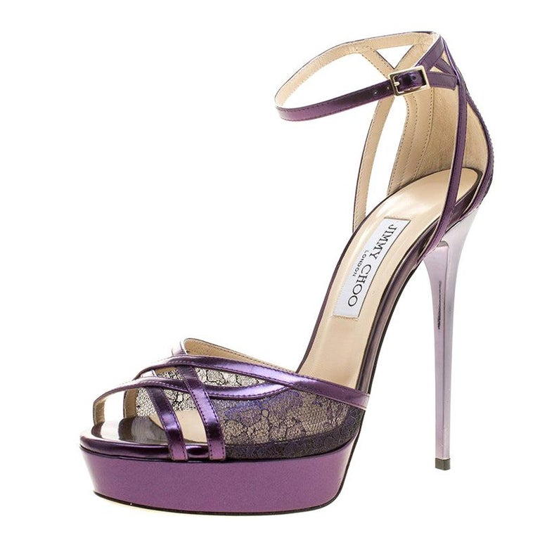 Jimmy Choo Purple Leather and Lace Laurita Platform Ankle Strap Sandals Size 40 For Sale