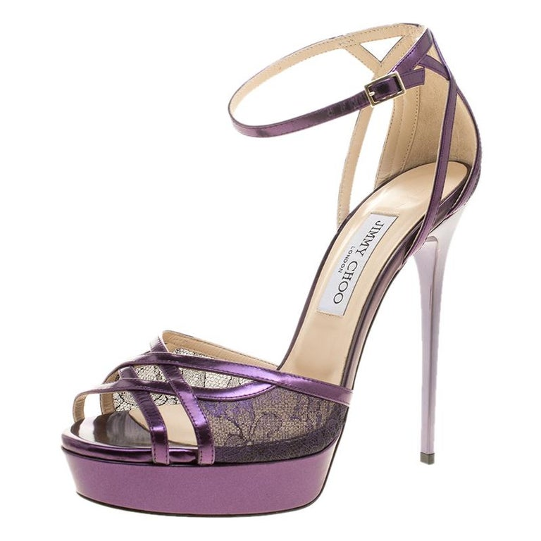 f35a05991d3e Jimmy Choo Purple Leather and Lace Laurita Platform Ankle Strap Sandals Size  40 For Sale