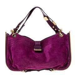 Jimmy Choo Purple Suede and Leather Alex Shoulder Bag