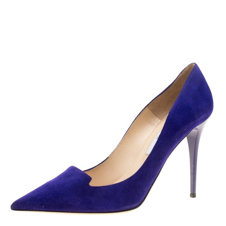 05d18568f14 Jimmy Choo Purple Suede Avril Pointed Toe Pumps Size 41 For Sale at ...