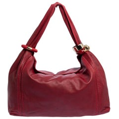 Jimmy Choo Red Leather Large Saba Hobo