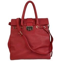 Jimmy Choo Red Leather Rosalie Large Satchel Shoulder Bag