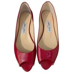 Jimmy Choo Red Patent Peep Toe Flats Size 40