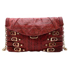 Jimmy Choo Red Python Chain Shoulder Bag