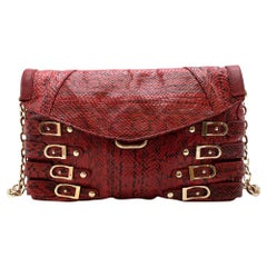 Jimmy Choo Red Python Chain Shoulder Bag