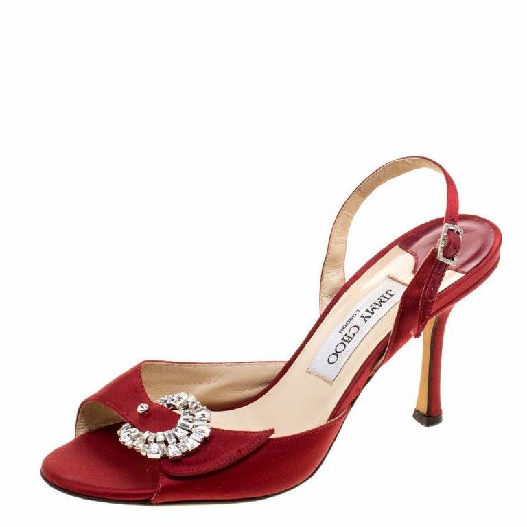 8becf1ecfb8 Jimmy Choo Red Satin Crystal Embellished Slingback Sandals Size 37.5 For  Sale