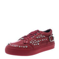 Jimmy Choo Red Studded Leather Roman Platform Sneakers Size 41