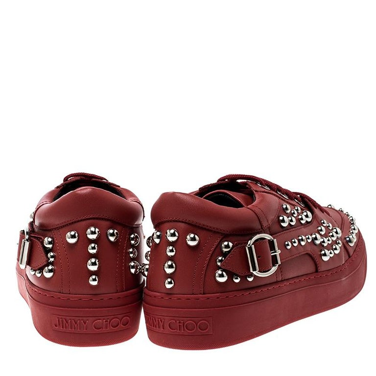 Brown Jimmy Choo Red Studded Leather Roman Sneakers Size 42 For Sale