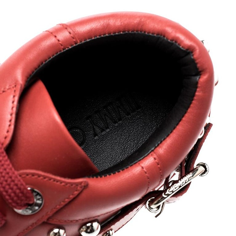 Women's Jimmy Choo Red Studded Leather Roman Sneakers Size 42 For Sale