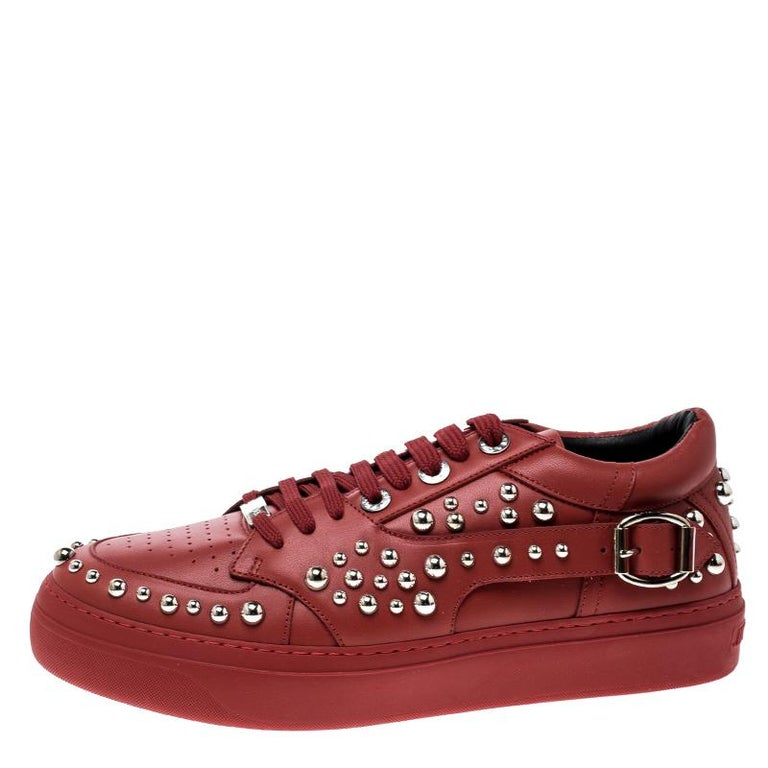 Jimmy Choo Red Studded Leather Roman Sneakers Size 42 For Sale 1