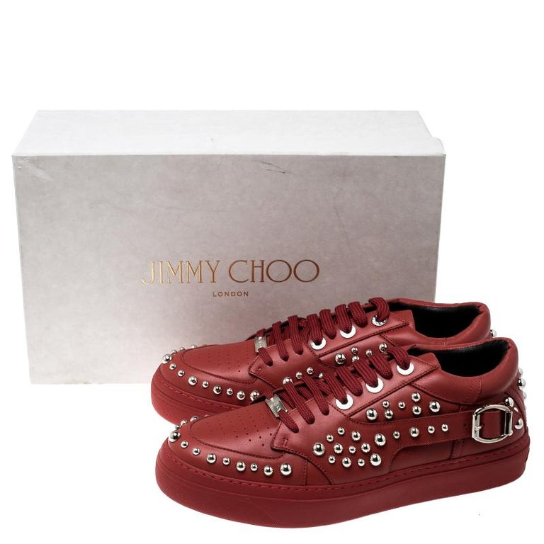 Jimmy Choo Red Studded Leather Roman Sneakers Size 42 For Sale 2