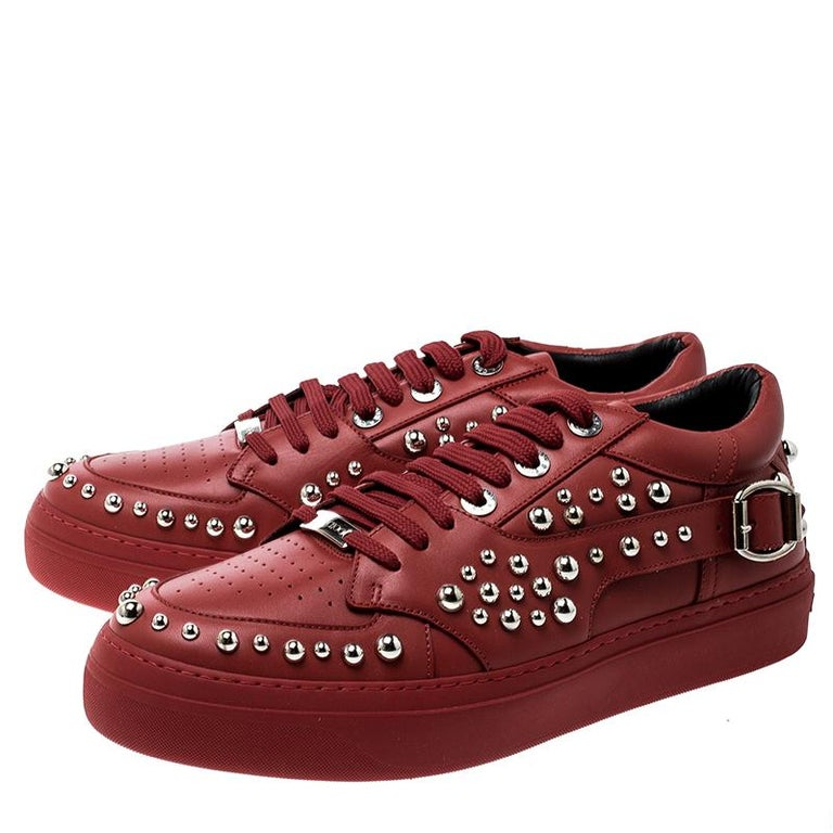 Jimmy Choo Red Studded Leather Roman Sneakers Size 42 For Sale 3
